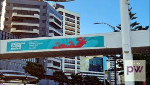 Wellington Pasifika Festival 2021 advertised on pedestrian over bridge.