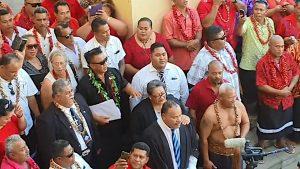 Singing outside Samoa Supreme Court after election ruling. - Samoa Global News/Facebook
